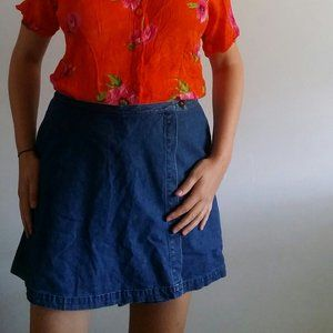 1990's Denim Faux Wrap Skort